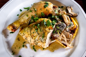 Sunday Roast Chicken and Wild Mushroom Ragout on fried polenta