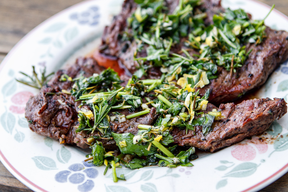 Grilled Skirt Steak With Herb Salsa Verde Recipe — Dishmaps