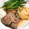 Roast Beef with Horseradish sauce, Potatoes Gratin and Lemon Green Beans