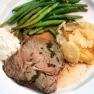 Roast Beef with Horseradish sauce, Potatoes Gratin and Lemon Green Beans