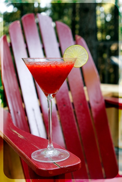 Strawberry Margaritas on the deck
