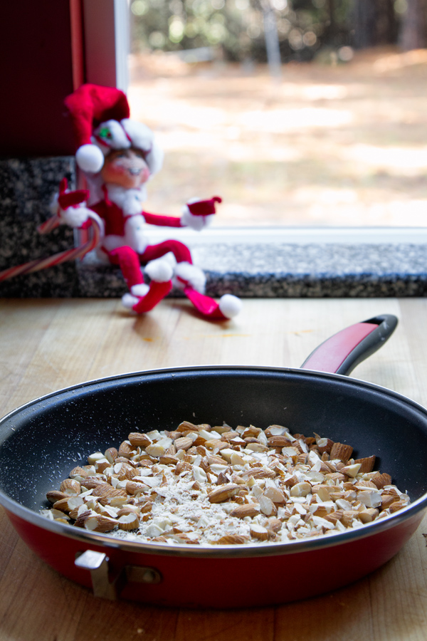 Almonds rough chopped and toasted.