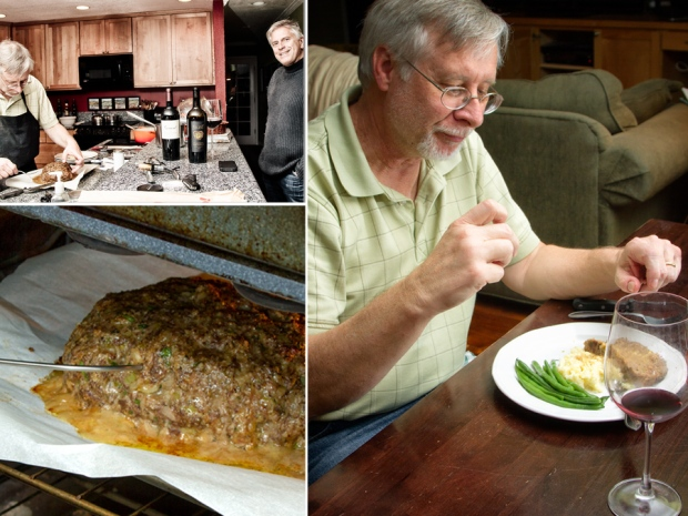 Our friend and his wine, meatloaf in the oven and Yes!Chef! sits down to dinner