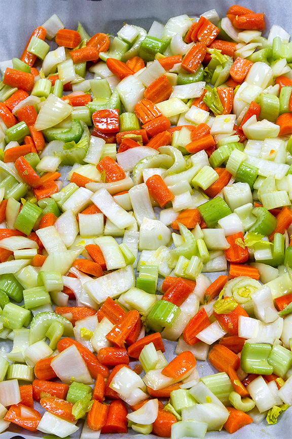 Mirepoix tossed with olive oil