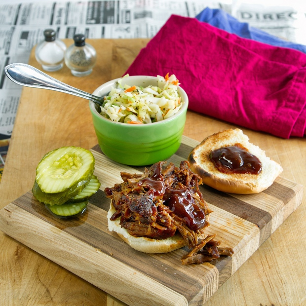All the makings of a pulled pork sandwich