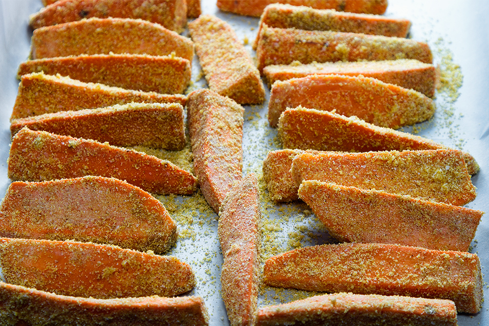 Cornmeal Coated yams