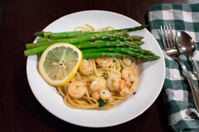 Finished Shrimp Scampi Meal