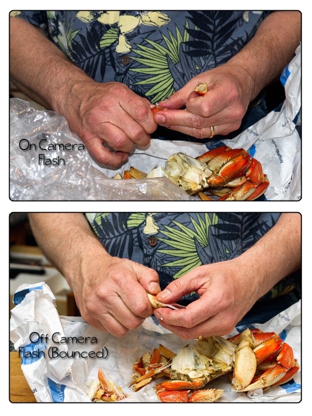 on off camera flash crab