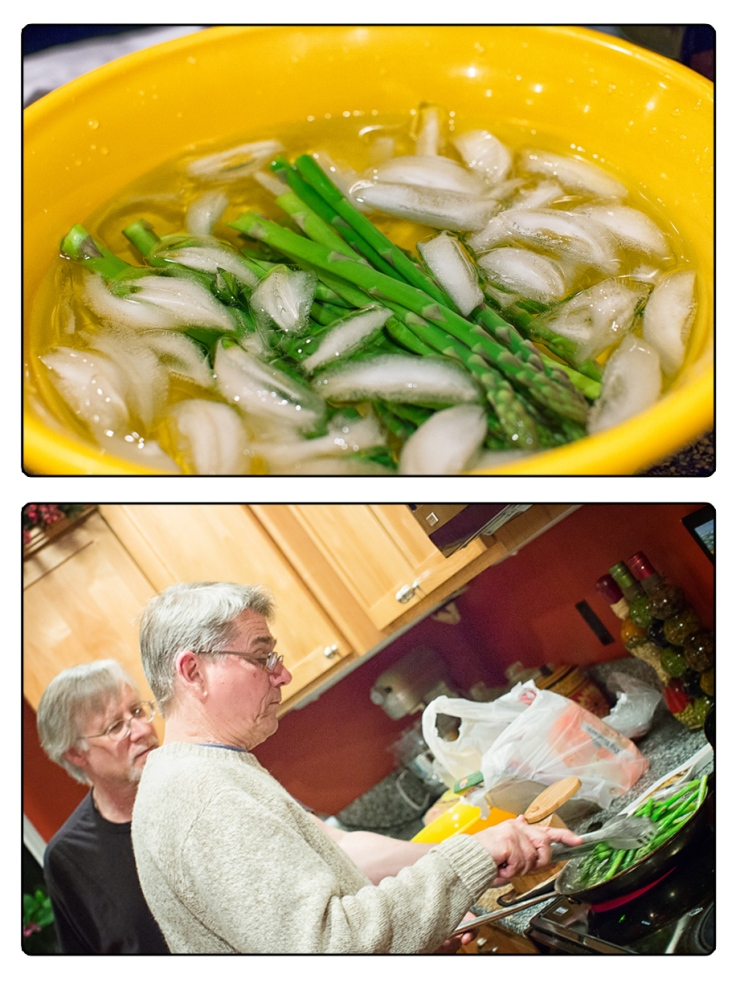 Sauteing blanched asparagus