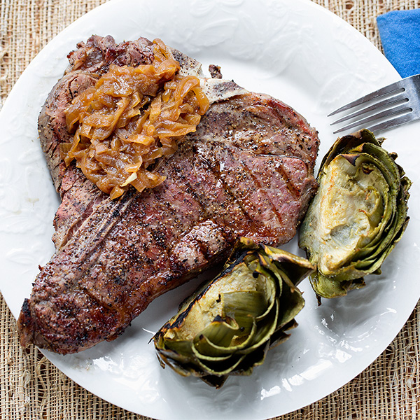 Grilled steak, caramelized onions, roasted artichokes
