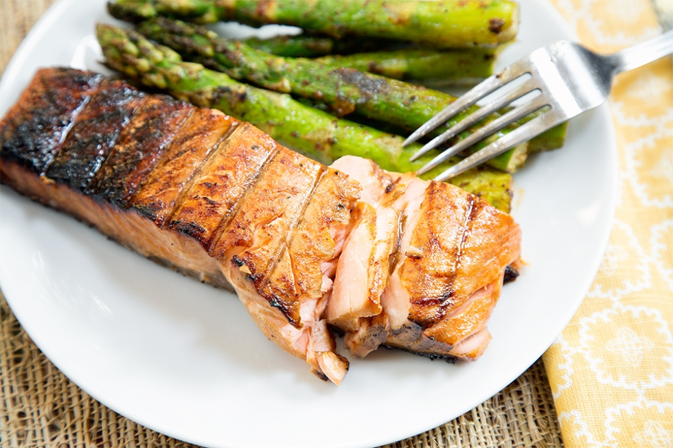 Grill salmon until it is flaky and opaque but not overcooked
