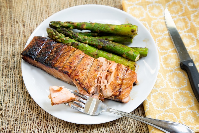 flaky, smoky, Asian flavored salmon