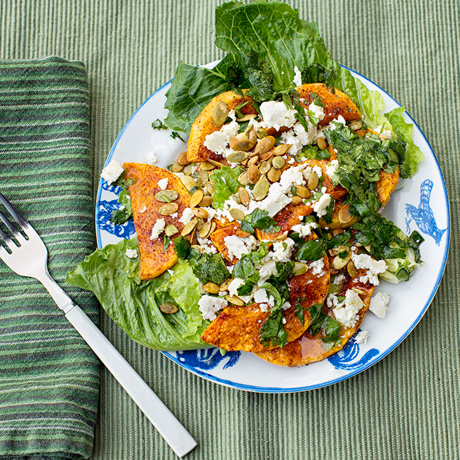 Chile and Lime Roasted butternut Squash salad