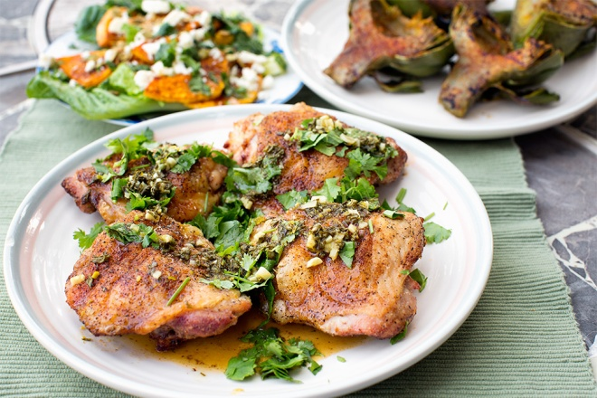 Barbecued Chile Lime chicken with honey lime cilantro sauce.