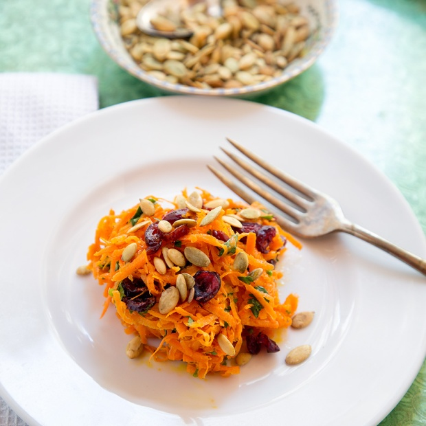 Shredded Carrot Salad with Cranberries, Cilantro, Pepitas and Lime-Jalapeno dressing