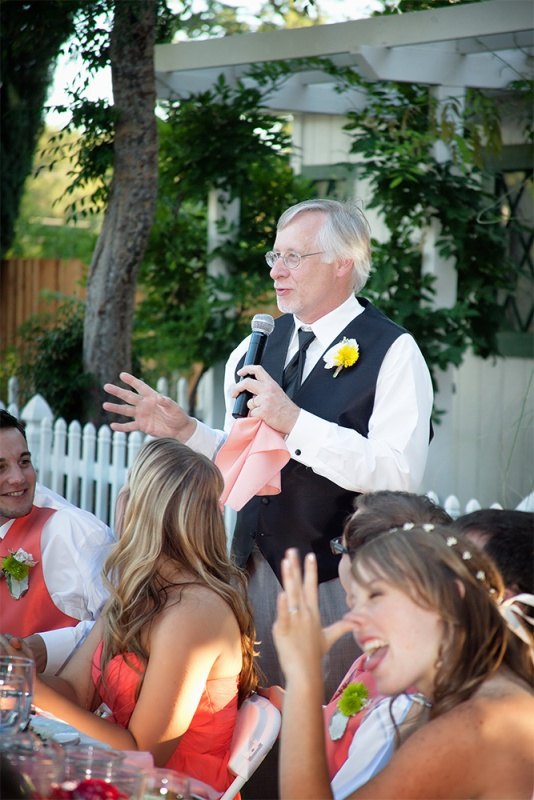 Yes!Chef! makes a toast while the bride (his daughter) pays rapt attention