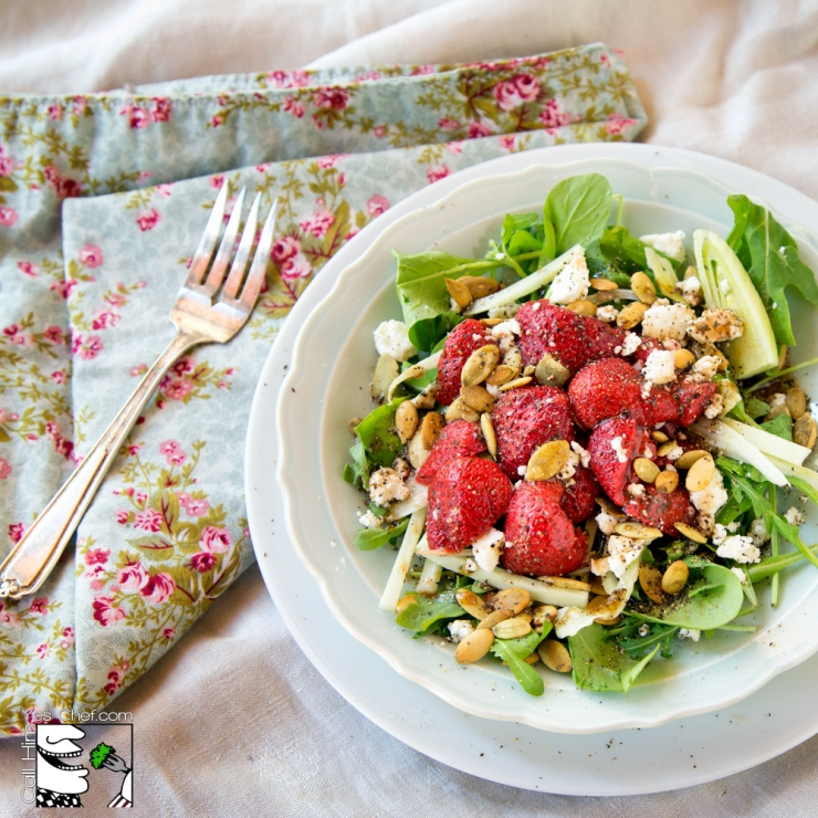 Marinated Strawberry Salad with arugula, Fennel and Pepitas