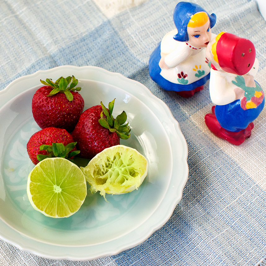 Lime, Strawberries and kissing Dutch Salt and Pepper shakers