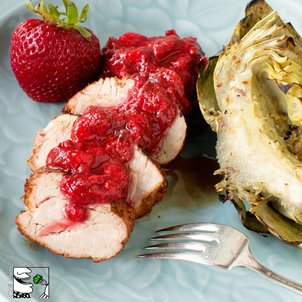 LOVE-ly Strawberry sauce on grilled pork loin