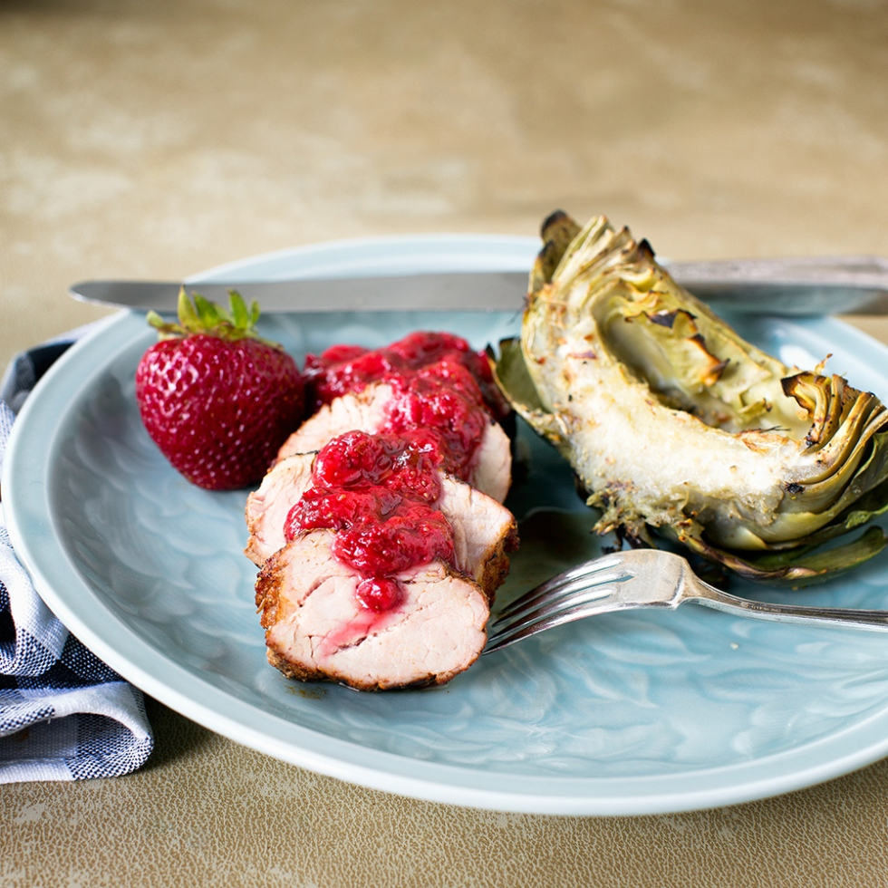 Grilled Pork Loin with spicy rub and strawberry sauce