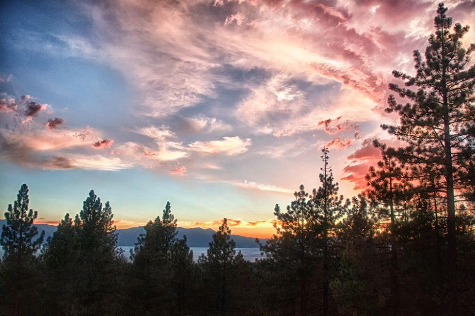 Sunset over Lake Tahoe from The Chart House window next to our table