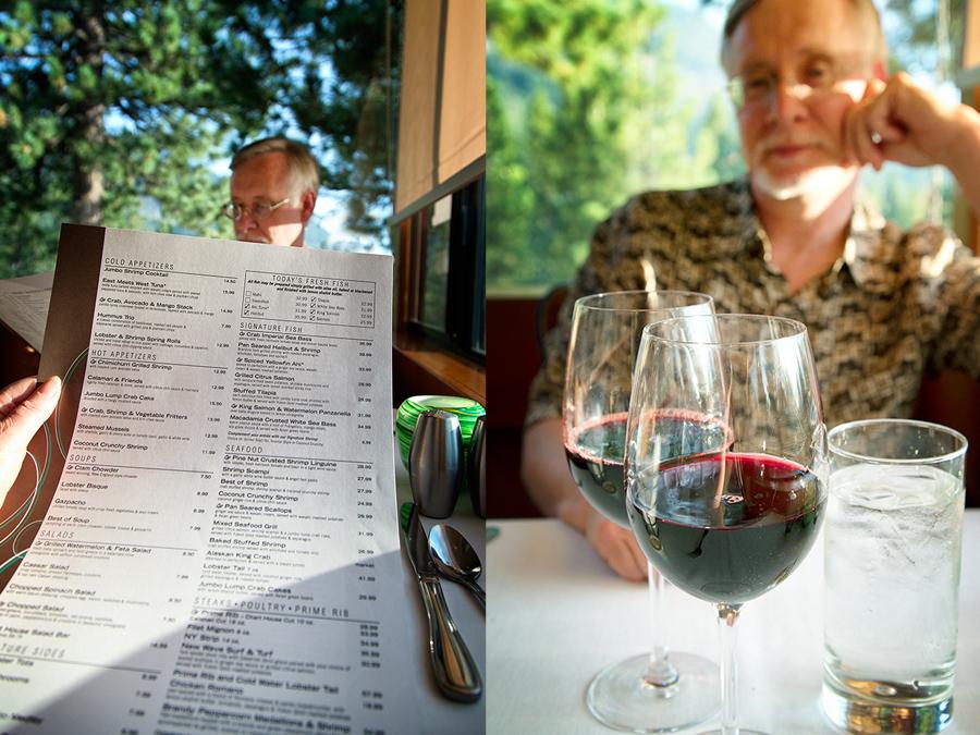 Enjoying a drink while we look at the menu