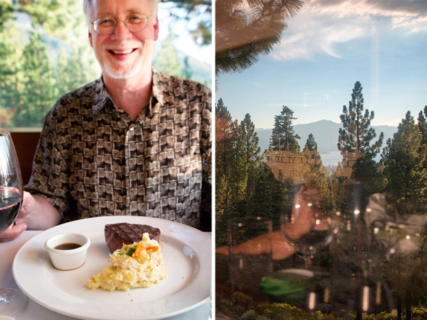 Yes!Chef! and his steak and mashed potatoes (top) View from window along with Yes!Chef!'s reflection (bottom)