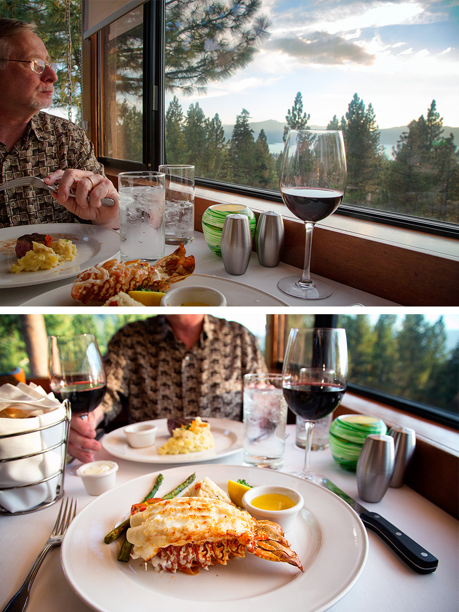 View of lake from our window (top) lobster dinner and steak and potatoes dinner (bottom)