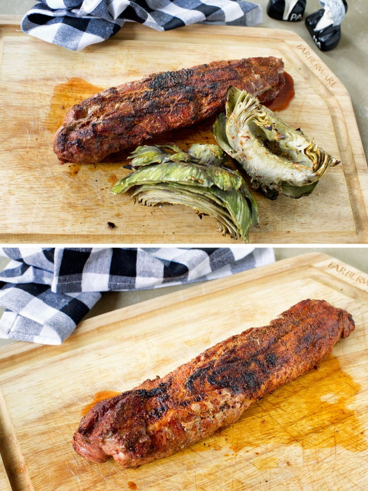 Seasoned, grilled pork loin with grilled artichokes