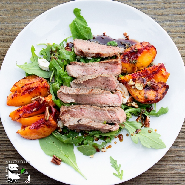 Grilled Ribeye and Grilled Peaches with arugula, blue cheese, thyme, pecans and honey balsamic dressing