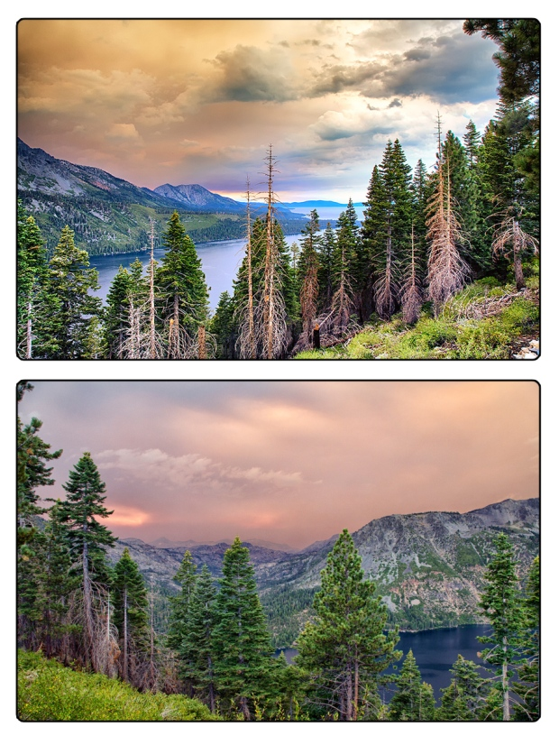From Angora Ridge overlooking Fallen Leaf Lake And Lake Tahoe