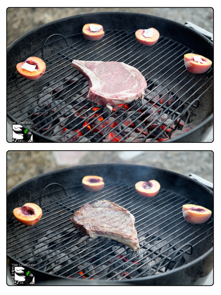 Grilling peaches and steak