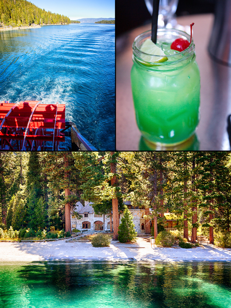 Tahoe Queen Paddle Wheel, Emerald Bay drink and the Vikingsholm on the shores of Emerald Bay