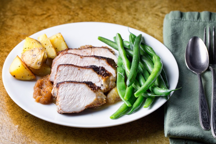 Pork with spiced rub and Apple dressing