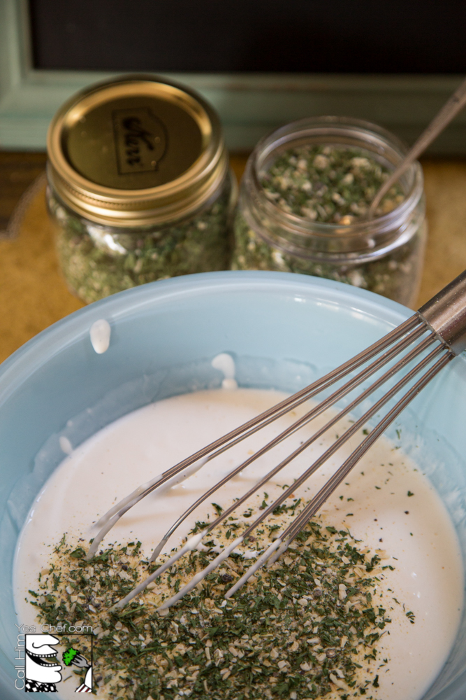Whisk in the herb mix with the fresh ingredients.