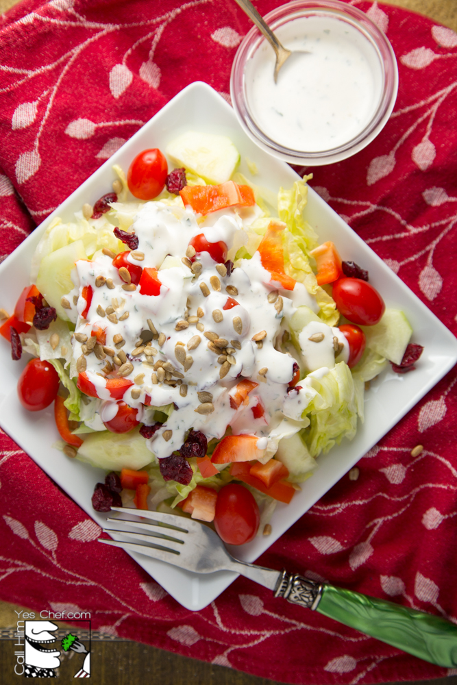 Add a little bowl of dressing on the side so guests can serve themselves.