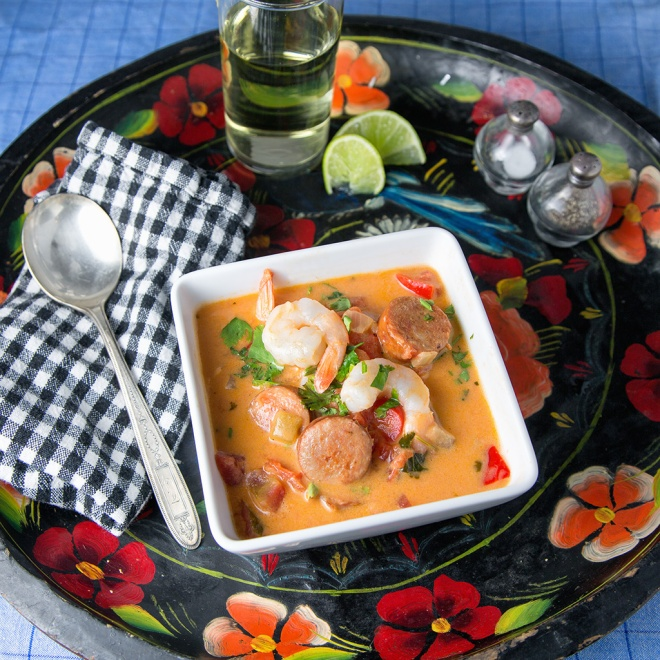 Brazilian Shrimp and Andouille Stew with lime