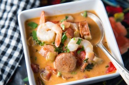 Close up of Brazilian Shrimp and Andouille Stew