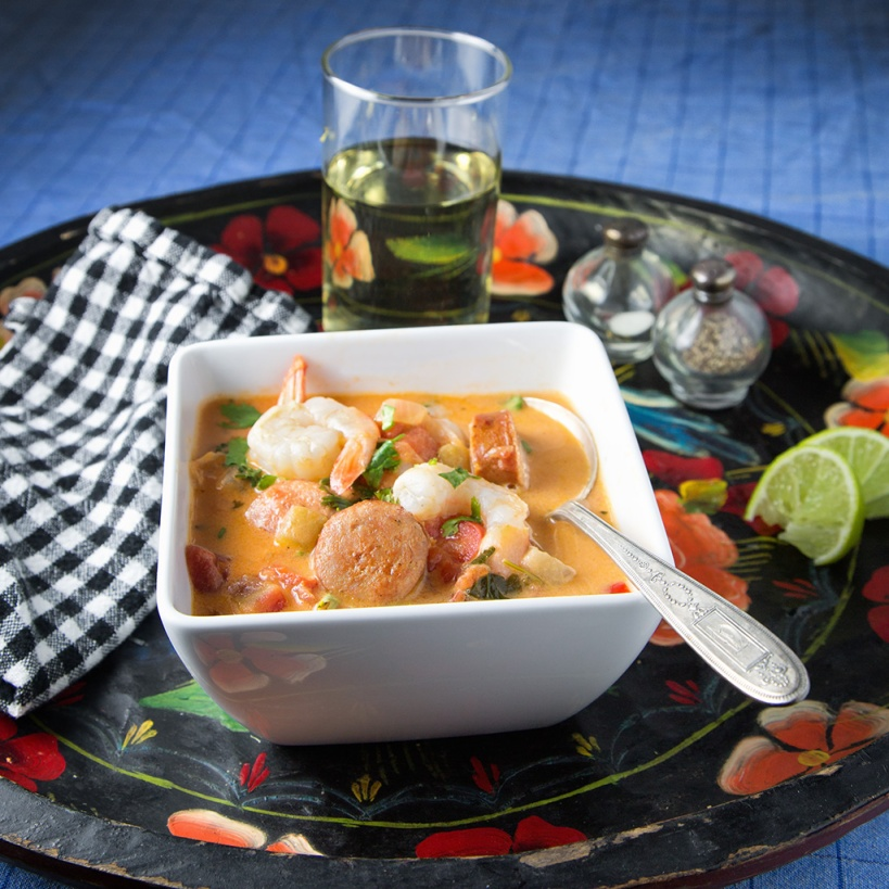 Brazilian Shrimp and Andouille Stew and a good crisp white wine
