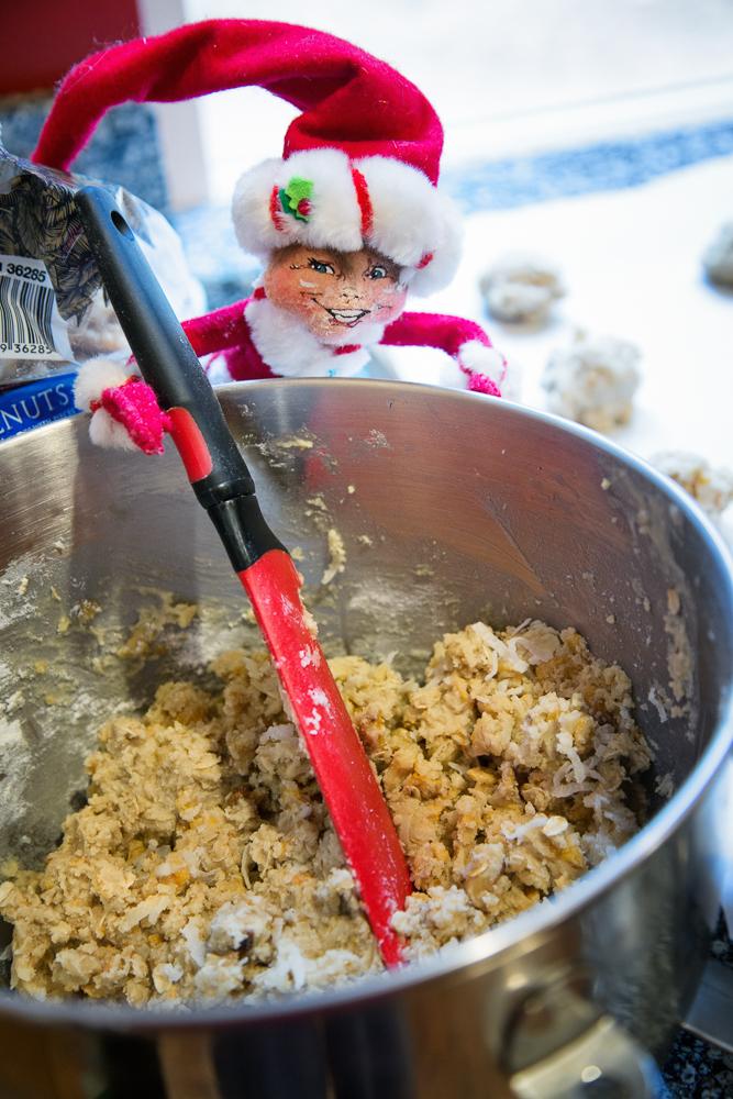 Edmon helps mix the cookies