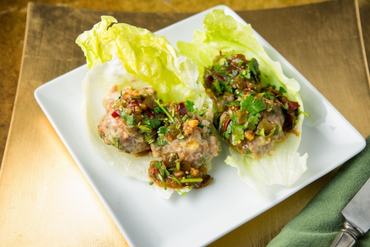 Thai Meatballs With Tomatillo Chutney