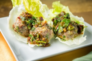 Thai Meatballs with Spicy Tomatillo Chutney