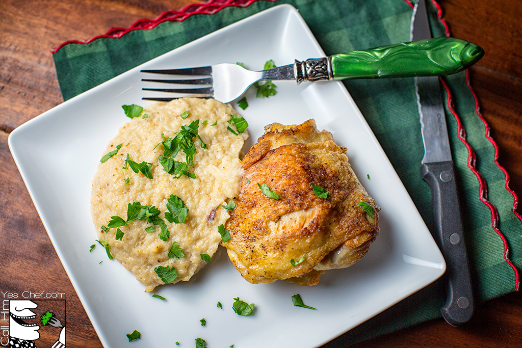Roasted Cauliflower puree with Pan-fried chicken