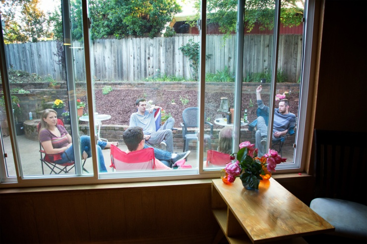 Looking outside at the patio and the fam