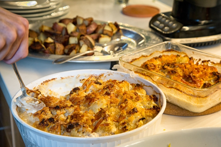 Cauliflower Gratin and roasted potatoes