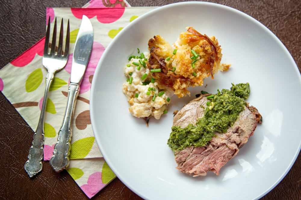 Marinated Barbecue Lamb with Mint Chimichuri Sauce and Cauliflower Gratin