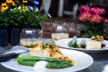 Halibut with Ginger Garlic Sauce and asparagus on the terrace
