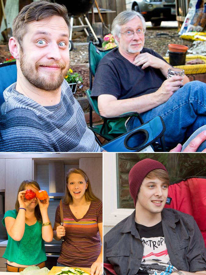 Top: Oldest son and Yes!Chef!; Lower left: daughter (pepper eyes) and friend; Lower right: Youngest son