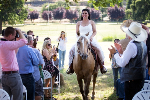 A bride rides down the aisle