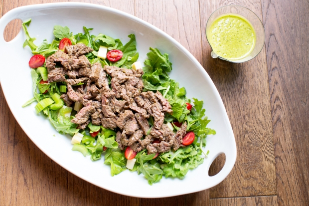 My version of the marinated skirt steak salad